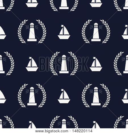 Maritime mood, Seamless nautical pattern with ships and lighthouses