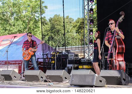 St. Petersburg, Russia - 12 August, Speech by musicians on stage,12 August, 2016. Pop and rock musicians on Harley Davidson festival in St. Petersburg.