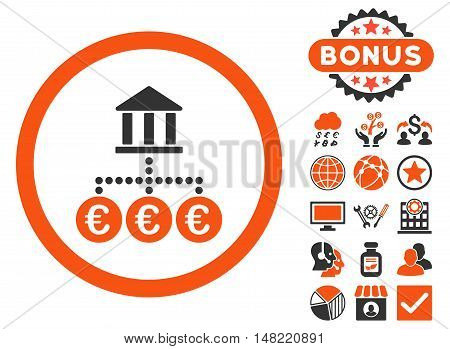 Euro Bank Transactions icon with bonus images. Vector illustration style is flat iconic bicolor symbols, orange and gray colors, white background.