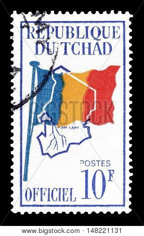 CHAD - CIRCA 1966 : Cancelled postage stamp printed by Chad, that shows  Flag and Map of Chad.