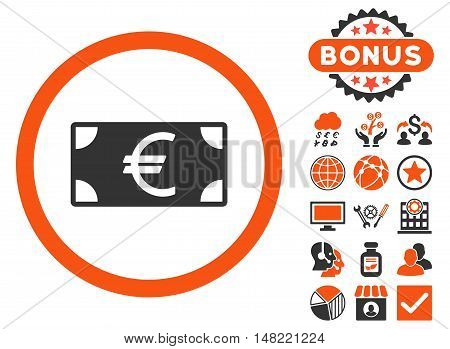 Euro Banknote icon with bonus pictogram. Vector illustration style is flat iconic bicolor symbols, orange and gray colors, white background.