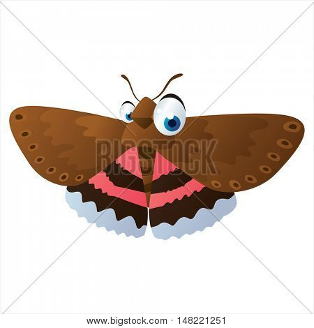 vector cartoon cute animal mascot. Funny colorful cool illustration of happy Insect. Underwing butterfly
