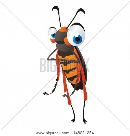 vector cartoon cute animal mascot. Funny colorful cool illustration of happy Insect. Vine Borer