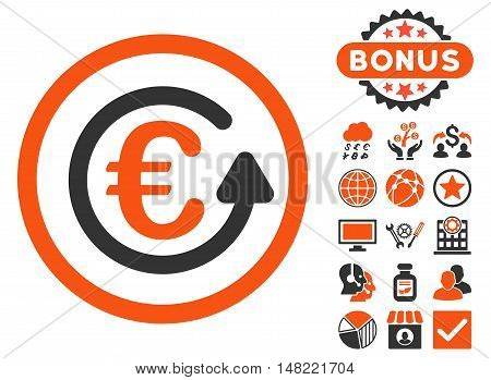 Euro Chargeback icon with bonus design elements. Vector illustration style is flat iconic bicolor symbols, orange and gray colors, white background.