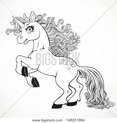 Cute Fairytale Unicorn Rearing Up Outlined For Coloring Book Isolated On A White Background