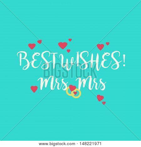 Blue Wedding Congratulations Card For Lesbian Couple