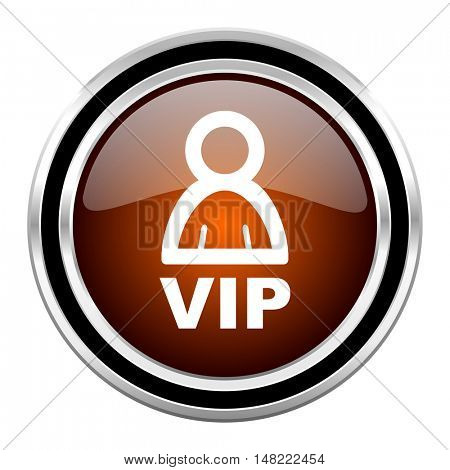 vip round circle glossy metallic chrome web icon isolated on white background