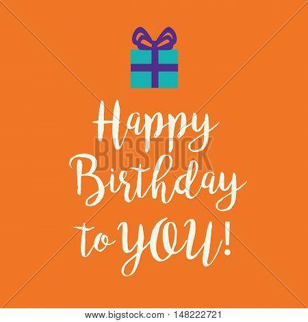 Orange Happy Birthday Greeting Card With A Blue Present