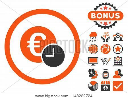 Euro Credit icon with bonus pictogram. Vector illustration style is flat iconic bicolor symbols, orange and gray colors, white background.