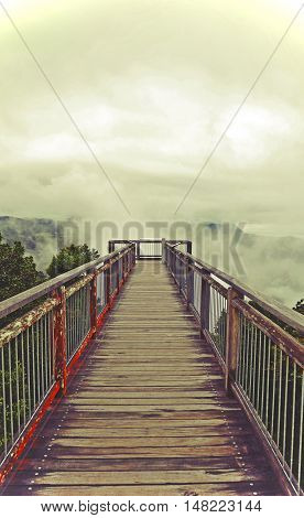 Ethereal Wooden walkway bridge leading into low cloud above mountains. Dramatic, moody tone. Dorrigo National Park, New South Wales, Australia