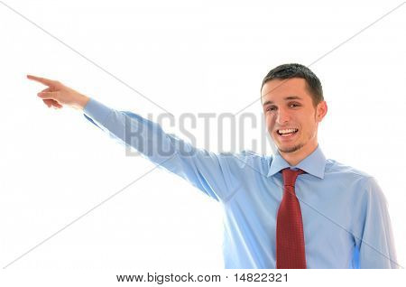 young business main with red tie pointing direction with finger and smile