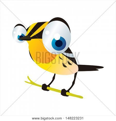 vector cartoon cute animal mascot. Funny colorful cool illustration of happy Warbler bird