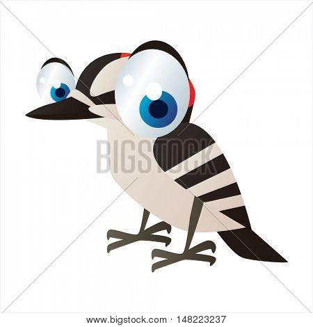 vector cartoon cute animal mascot. Funny colorful cool illustration of happy Woodpecker bird