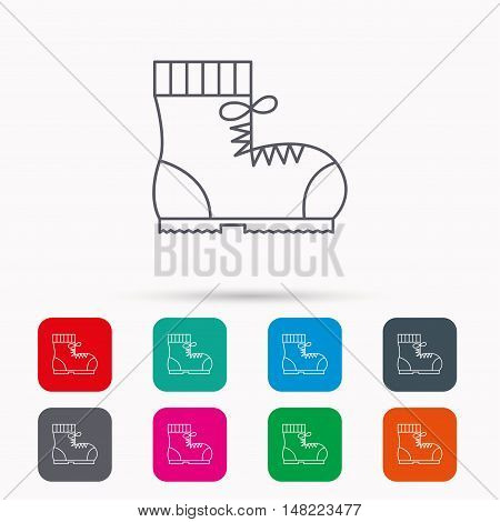 Boot icon. Hiking or work shoe sign. Military footwear symbol. Linear icons in squares on white background. Flat web symbols. Vector