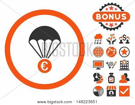 Euro Parachute icon with bonus symbols. Vector illustration style is flat iconic bicolor symbols, orange and gray colors, white background.