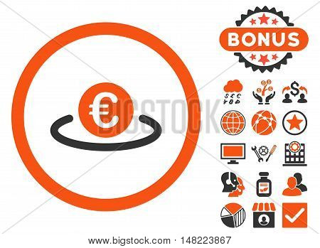 Euro Placement icon with bonus elements. Vector illustration style is flat iconic bicolor symbols, orange and gray colors, white background.