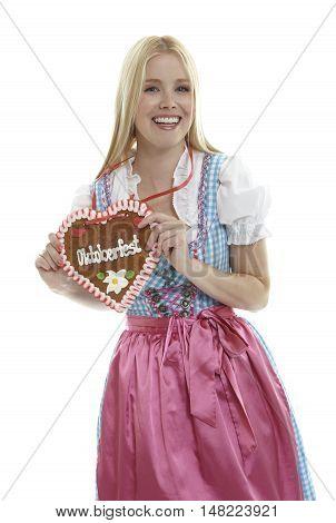 Woman with an Oktoberfest Ginger Bread heart