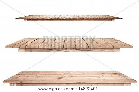 Brown vintage wooden kitchen table tops are isolated white background.