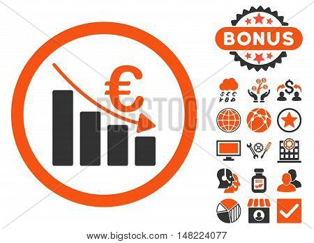 Euro Recession icon with bonus symbols. Vector illustration style is flat iconic bicolor symbols, orange and gray colors, white background.
