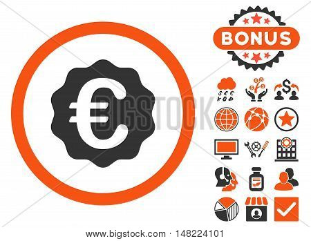 Euro Reward Seal icon with bonus elements. Vector illustration style is flat iconic bicolor symbols, orange and gray colors, white background.
