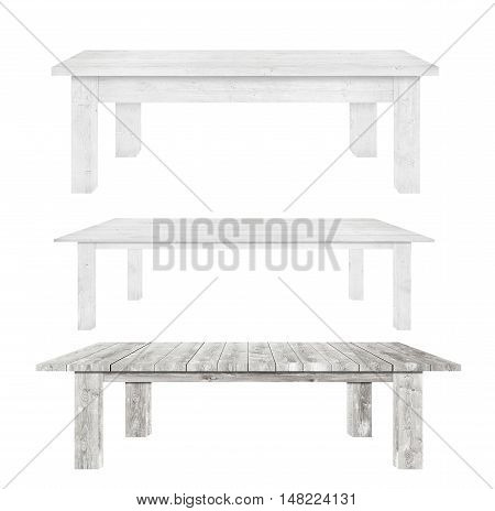 Grey vintage wooden kitchen tables are isolated white background.