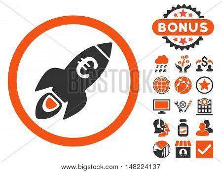 Euro Rocket Startup icon with bonus elements. Vector illustration style is flat iconic bicolor symbols, orange and gray colors, white background.