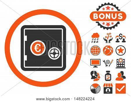 Euro Safe icon with bonus symbols. Vector illustration style is flat iconic bicolor symbols, orange and gray colors, white background.