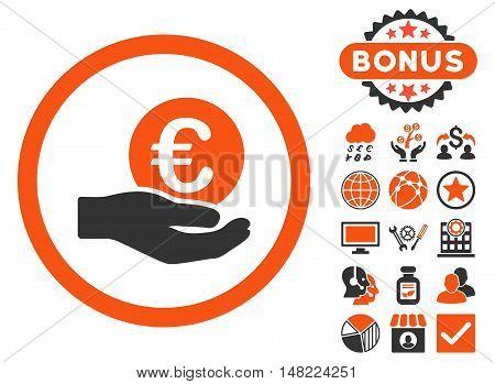 Euro Salary Hand icon with bonus pictogram. Vector illustration style is flat iconic bicolor symbols, orange and gray colors, white background.