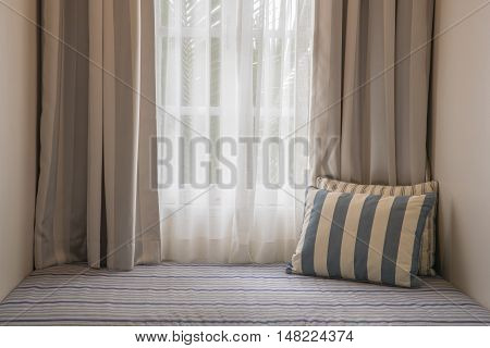 Curtain and sofa bed in living room