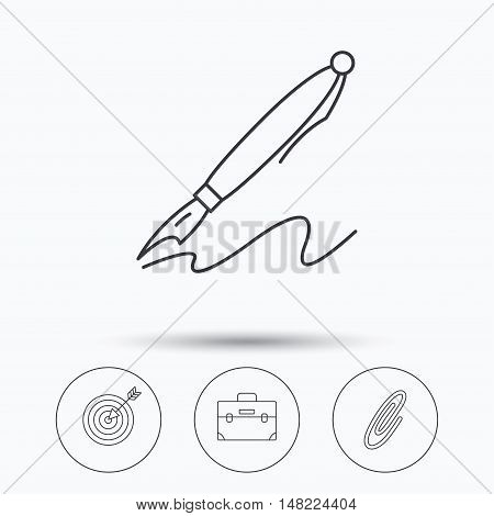 Briefcase, safety pin and target icons. Pen linear sign. Linear icons in circle buttons. Flat web symbols. Vector