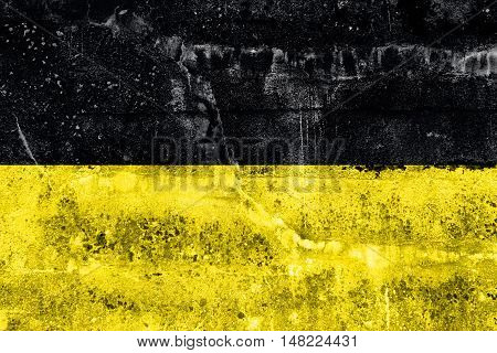 Flag Of Baden-wurttemberg, Germany, Painted On Dirty Wall