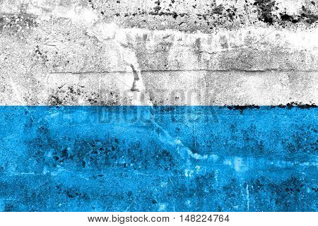 Flag Of Bavaria, Germany, Painted On Dirty Wall