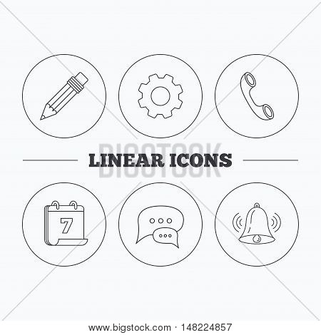 Chat speech bubbles, bell and pencil icons. Phone call linear sign. Flat cogwheel and calendar symbols. Linear icons in circle buttons. Vector