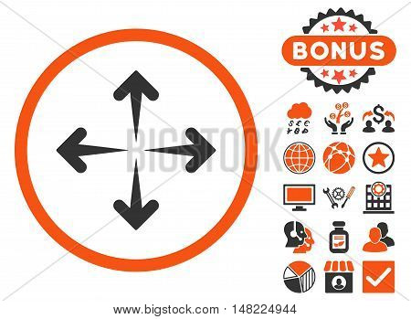 Expand Arrows icon with bonus elements. Vector illustration style is flat iconic bicolor symbols, orange and gray colors, white background.