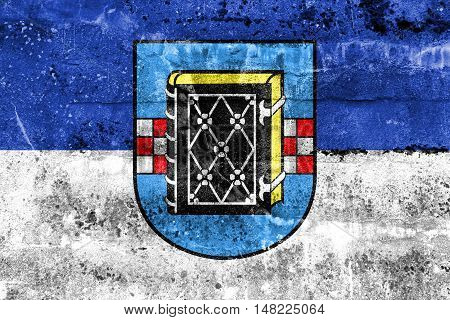 Flag Of Bochum With Coat Of Arms, Germany, Painted On Dirty Wall