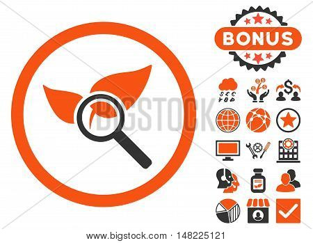 Explore Natural Drugs icon with bonus images. Vector illustration style is flat iconic bicolor symbols, orange and gray colors, white background.