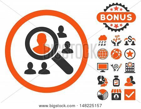 Explore Patients icon with bonus symbols. Vector illustration style is flat iconic bicolor symbols, orange and gray colors, white background.