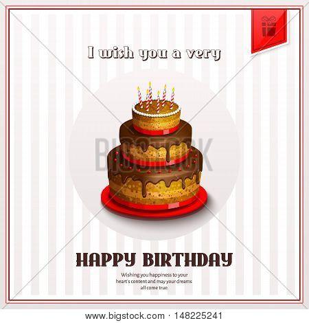 Happy birthday greeting card with birthday cake.