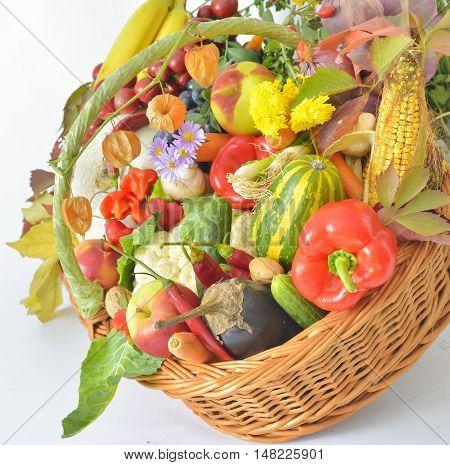 fresh healthy vegetables in basket, close up