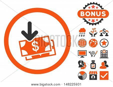 Get Banknotes icon with bonus elements. Vector illustration style is flat iconic bicolor symbols, orange and gray colors, white background.