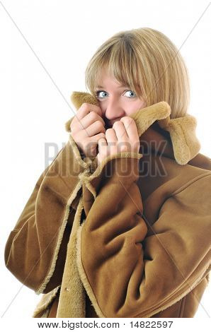 happy woman in winter coat isolated on white