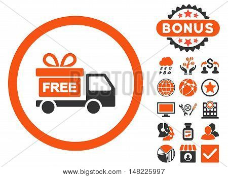 Gift Delivery icon with bonus elements. Vector illustration style is flat iconic bicolor symbols, orange and gray colors, white background.