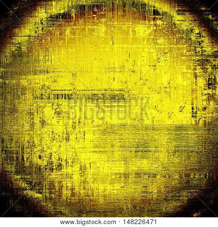 Spherical grunge texture or background with retro design elements and different color patterns: yellow (beige); brown; black