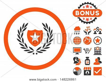 Glory Shield icon with bonus pictures. Vector illustration style is flat iconic bicolor symbols, orange and gray colors, white background.