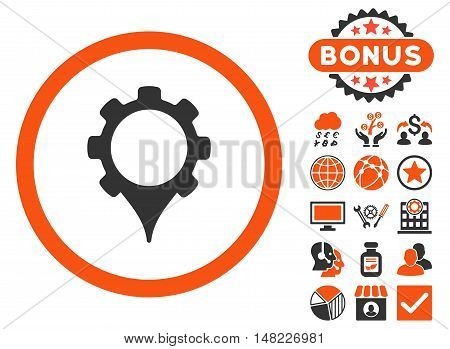 GPS Settings icon with bonus elements. Vector illustration style is flat iconic bicolor symbols, orange and gray colors, white background.