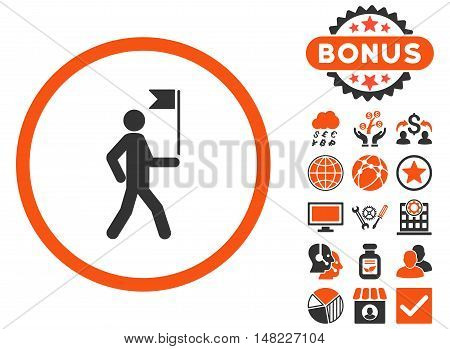 Guide icon with bonus design elements. Vector illustration style is flat iconic bicolor symbols, orange and gray colors, white background.