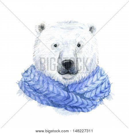 Beautiful waterclor polar bear in a blue scarf