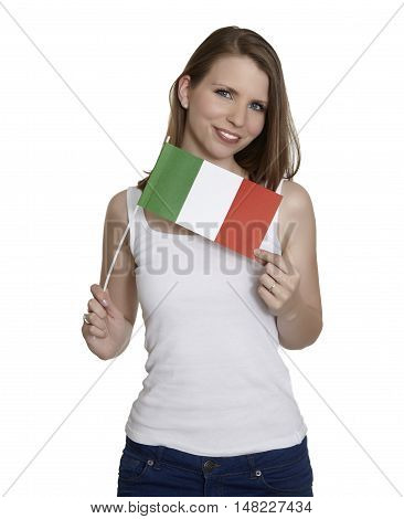 Attractive woman shows flag of Italy and smiles in front of white background