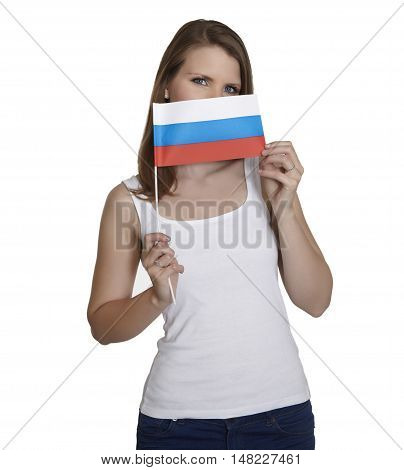 Attractive woman hides her face behind flag of Russia in front of white background