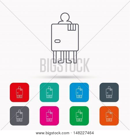 Beach changing cabin icon. Human symbol. Linear icons in squares on white background. Flat web symbols. Vector